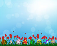 Easter Eggs on Springtime Meadow. With blue sky. Vector illustration Stock Photo