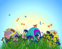 Easter Eggs on Springtime Meadow Royalty Free Stock Images