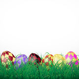 Easter eggs with squares in grass on a white shining background. Eps10 Stock Photo
