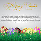 Easter eggs with squares in grass on a white shining background. With flowers. With text.eps10 Stock Photos