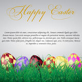 Easter eggs with squares in grass on a white shining background. With text.eps10 Royalty Free Stock Image