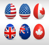 Easter eggs states colors flags set Royalty Free Stock Images