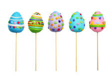 Easter Eggs on a stick. Isolated on a white background Stock Images
