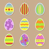 Easter eggs stickers icons in flat style for Easter holidays design. Easter eggs stickers icons in flat style. Vector Illustration for Easter holidays design Stock Images