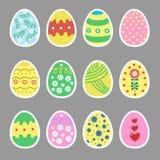 Easter eggs, stickers set. It`s spring. Gift. Seasonal celebration. Vector illustration Royalty Free Stock Photos