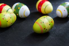Easter eggs on stone background Stock Photos