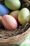 Easter Eggs in Straw Stock Photo