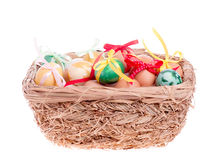 Easter eggs in a straw basket Royalty Free Stock Image
