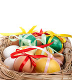 Easter eggs in a straw basket Stock Photos