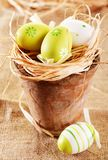 Easter eggs on straw nest Royalty Free Stock Photography