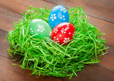 Easter eggs in straw nest Royalty Free Stock Photography