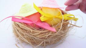 Easter eggs in straw nest stock video footage