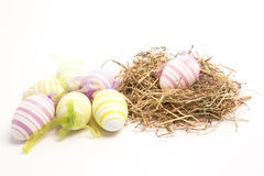 Easter eggs with straw Royalty Free Stock Photo