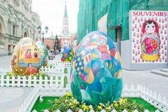 Easter eggs on the street Rozhdestvenka in Moskow stock images