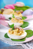 Easter eggs stuffed with mushrooms Stock Images