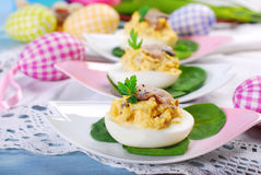 Easter eggs stuffed with mushrooms Royalty Free Stock Photography