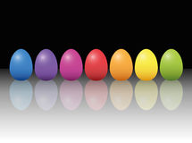 Easter Eggs Stylish Chic. Easter eggs - elegant, stylish, graceful and classy - but still modest and easy - with reflections on the glassy platform. Three Royalty Free Stock Photo