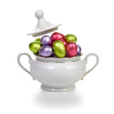 Easter eggs in sugar bowl Stock Image