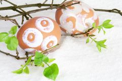 Easter Eggs with Sugar Paint. Easter Brown Eggs with Sugar Fudge Paint Horizontal Stock Images