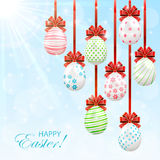 Easter eggs on sunny background Royalty Free Stock Photos