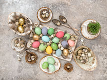 Easter eggs Table decoration Flat lay Royalty Free Stock Image