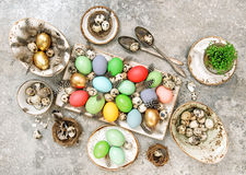 Easter eggs Table decoration Flat lay Stock Photography