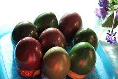 Easter eggs on the table Stock Photo