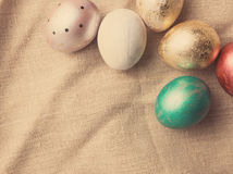 Easter eggs on table. Holiday background. Stock Photography