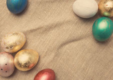 Easter eggs on table. Holiday background. Stock Photo