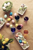 Easter eggs on the table Royalty Free Stock Image