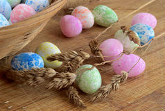 Easter eggs   on the table Royalty Free Stock Photos