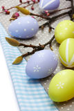 Easter eggs on texile background Royalty Free Stock Image
