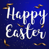 Easter eggs text with confetti gold and dark blue colors free sp. Ace place for text. illustration Stock Photography
