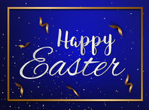 Easter eggs text with confetti gold and dark blue colors free sp. Ace place for text. illustration Royalty Free Stock Photos