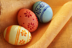 Easter eggs on textile Royalty Free Stock Images