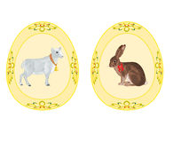 Easter eggs theme bunny lamb Royalty Free Stock Image