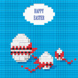 Easter eggs. Three Easter eggs of Lego on a blue background Royalty Free Stock Photo
