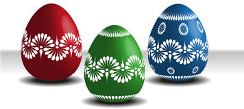 Easter Eggs. Three traditionally painted easter eggs Royalty Free Stock Image