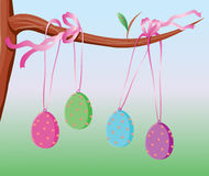 Easter eggs tied with pink ribbon. Illustration of four decorated easter eggs, tied with shiny pink ribbon bows and hanging on a tree branch Stock Images
