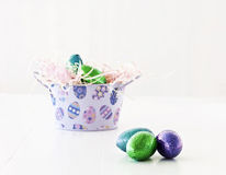 Easter eggs with tin Royalty Free Stock Photography