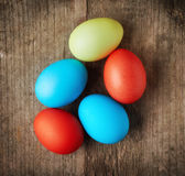 Easter eggs, top view Royalty Free Stock Images