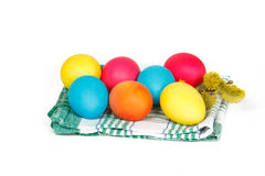 Easter eggs on the towel. Many Easter eggs on the towel Royalty Free Stock Images