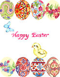 Easter eggs with traditional painting Eastern European styles of painting, in particular Ukrainian motifs, chick, blue butterfly Stock Images
