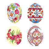 Easter eggs with traditional painting Eastern European styles of painting, in particular Ukrainian motifs. Isolated set hand painted watercolor illustration Stock Photo