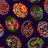 Easter eggs with traditional painting Eastern European styles of painting, in particular Ukrainian motifs. Seamless pattern hand painted watercolor illustration Stock Image