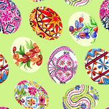 Easter eggs with traditional painting, Eastern European styles of painting, in particular Ukrainian motifs. Seamless pattern hand painted watercolor illustration Stock Photo