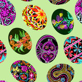 Easter eggs with traditional painting, Eastern European styles of painting, in particular Ukrainian motifs. Seamless pattern hand painted watercolor illustration Royalty Free Stock Images