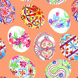 Easter eggs with traditional painting, Eastern European styles of painting, in particular Ukrainian motifs. Seamless pattern hand painted watercolor illustration Stock Image