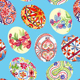 Easter eggs with traditional painting, Eastern European styles of painting, in particular Ukrainian motifs. Seamless pattern hand painted watercolor illustration Stock Photography