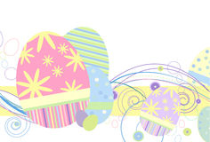 Easter Eggs in Traditional Pastels. With abstract design on a white background Royalty Free Stock Image